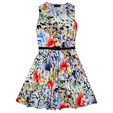3fb452544778d Girls Skater Dress Kids Multi Floral Print Summer Party Dresses New Age 7 8  9 10 11 12 13 Years: Amazon.co.uk: Clothing