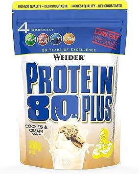 Weider Protein 80 Plus, Proteina de suero de suero de leche, Sabor Cookies & Cream, 500 gr