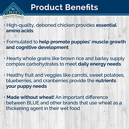 Blue Buffalo Homestyle Recipe Natural Puppy Wet Dog Food, Chicken 12.5-Oz Can Pack Of 12
