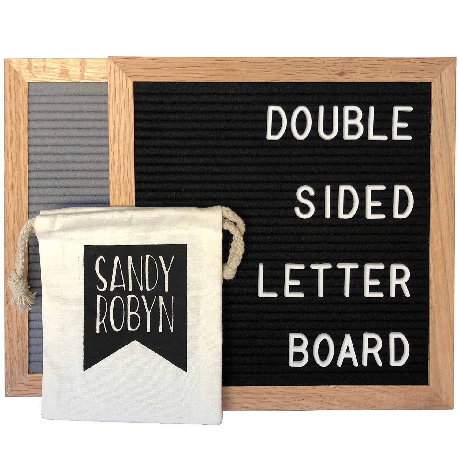 Double Sided Letter Board - 614 Characters 10x10 Black + Gray Felt Sandy Robyn