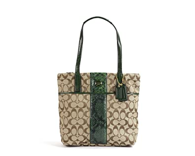 9e10ea5d12f Amazon.com  Coach Signature Stripe Python Tote - Khaki Green  Shoes