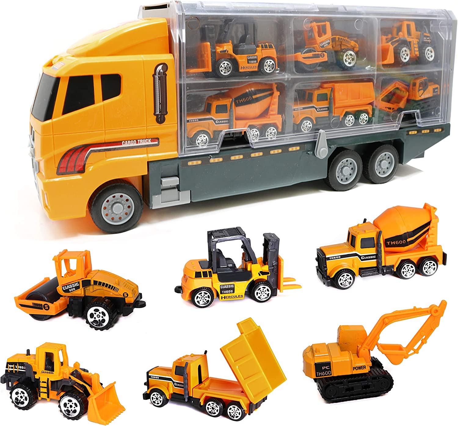Smart Novelty Die Cast Construction Trucks Vehicles Toy Cars Play Set in Carrier Truck - 7 in 1 Transport Truck Construction Car Set for Kids Gifts