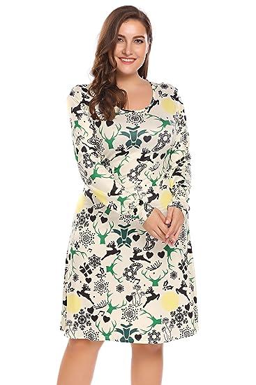 Involand Womens Plus Size Long Sleeve Christmas Gift Printing Party Midi  Dress 6996da171c9a