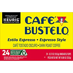 Cafe Bustelo Espresso Style K Cup Pods for Keurig Brewers, Dark Roast Coffee, Espresso, 24 Count