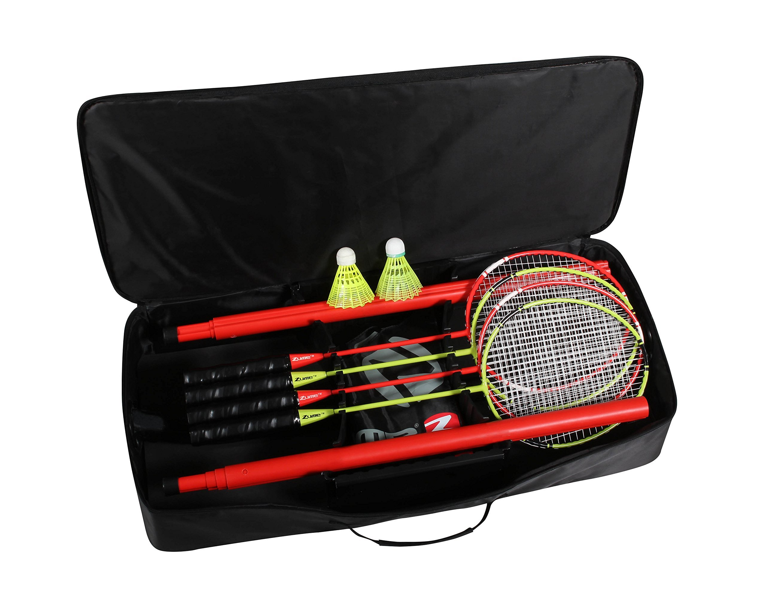 Zume Games Portable Badminton Set with Freestanding Base - Sets Up on Any Surface in Seconds - No Tools or Stakes Required (Renewed) by Zume (Image #3)