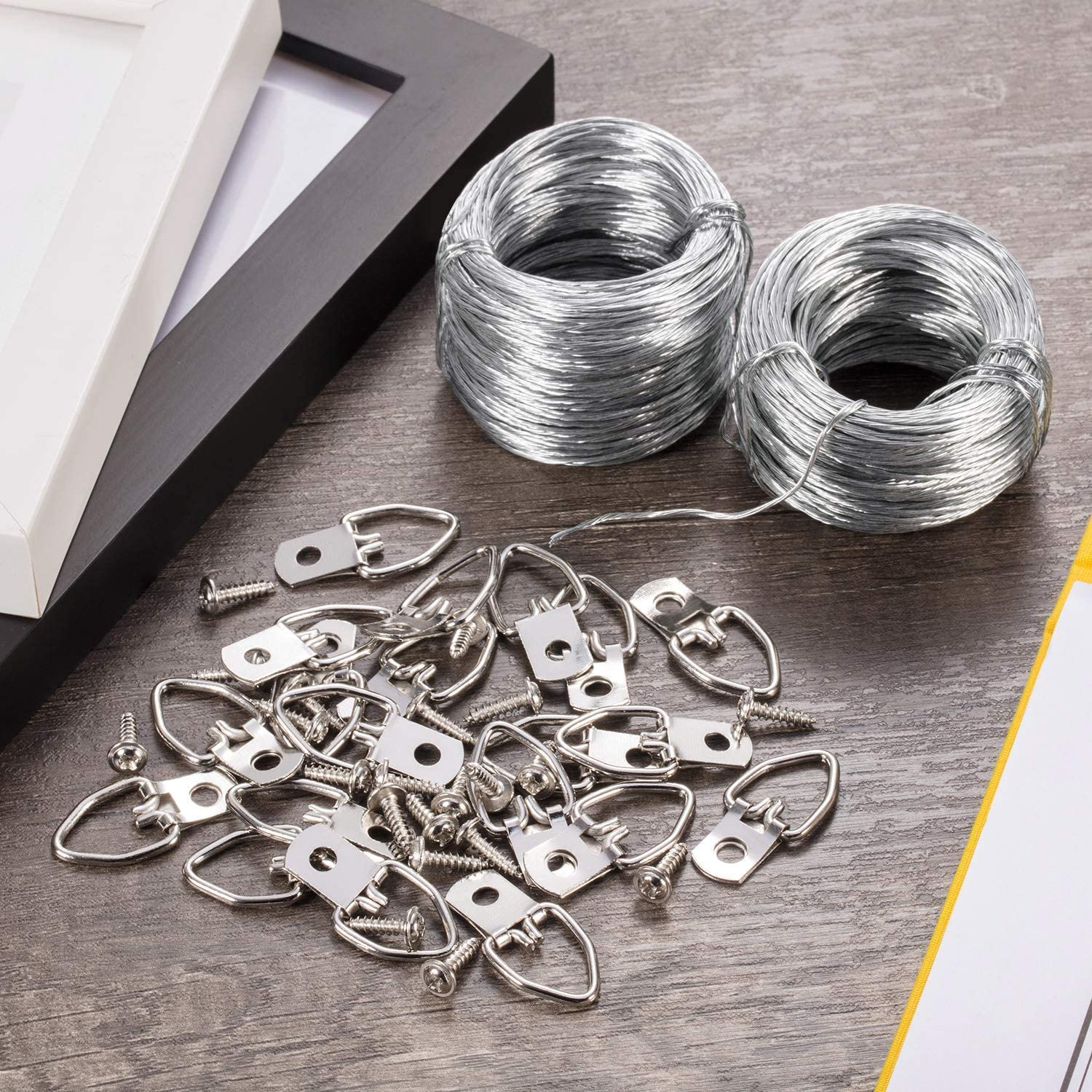 42 Pieces Set Picture Hanging Kit D Ring Picture Hangers with Screws Picture Hanging Wire Supports up to 30 lbs