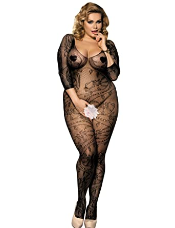 334c6a2a0cb Amazon.com  comeondear Womens Sexy Crotchless Floral Fishnet Long Sleeve Open  Crotch Bodystockings  Clothing