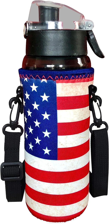 Koverz 24-30oz 1200ml Water Bottle Carrier with Shoulder Strap, Water Bottle Holder - Vintage American Flag