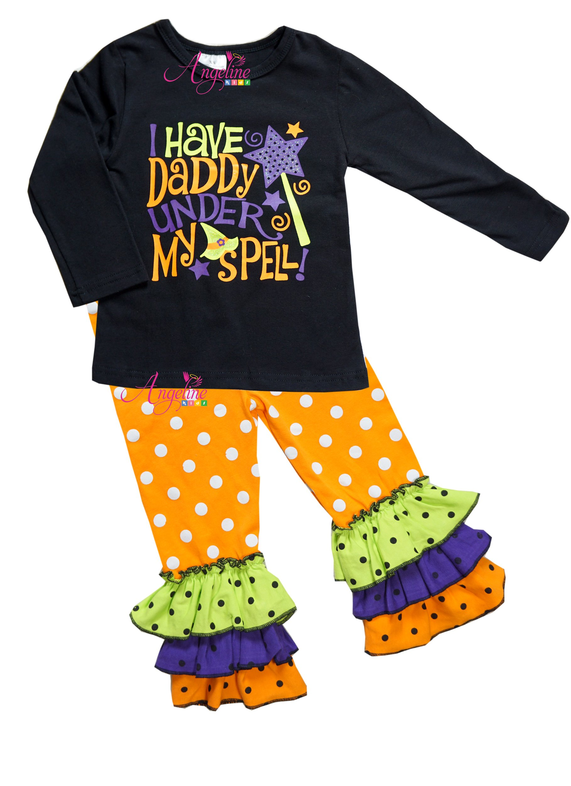 Angeline Girls Halloween I Have Daddy Under My Spell Legging Set 3T/S