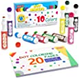 Washable Dot Markers, 10 Colors Bingo Daubers with Dot Coloring Book and 70 Patterns Coloring PDF Sheets, Non-Toxic Water-BasedDot Markers For Kids Toddlers Children Art Craft Supplies by Shuttle Art