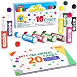 Washable Dot Markers, 10 Colors Bingo Daubers with Dot Coloring Book and 70 Patterns Coloring PDF Sheets, Non-Toxic…
