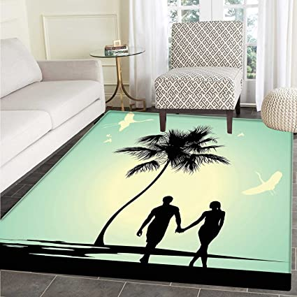 Romantic Dining Room Home Bedroom Carpet Floor Mat Married Couple Walking On The Beach With Tropical
