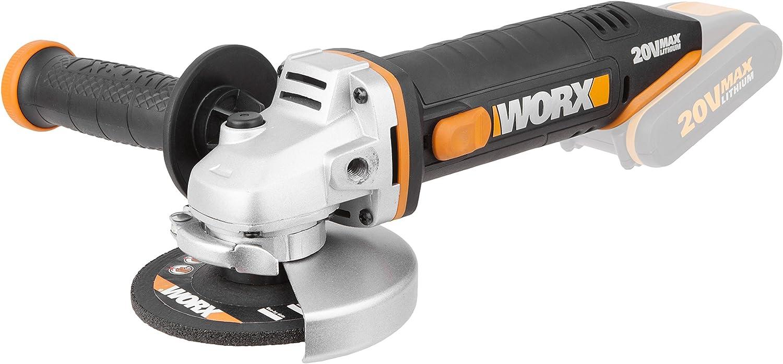 Worx WX800.9 Amoladora angular Radial 115mm 20V, 8600RPM, 1 disco de corte metal, 20 V