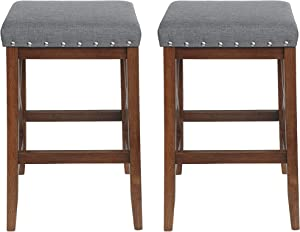 Great Deal Furniture Nancy Contemporary Farmhouse Upholstered Fabric Barstools (Set of 2), Charcoal and Walnut