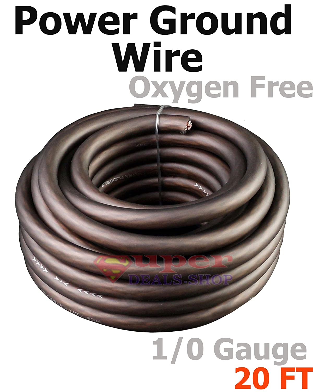Gauge 100 Oxygen Free Copper Install Power Amplifier Wire Amp Kit 20 Ft Ultra Flexible Black 1 0 Awg Ground Stranded Cable Car Audio Clad Sold By The Foot Super Deals Shop