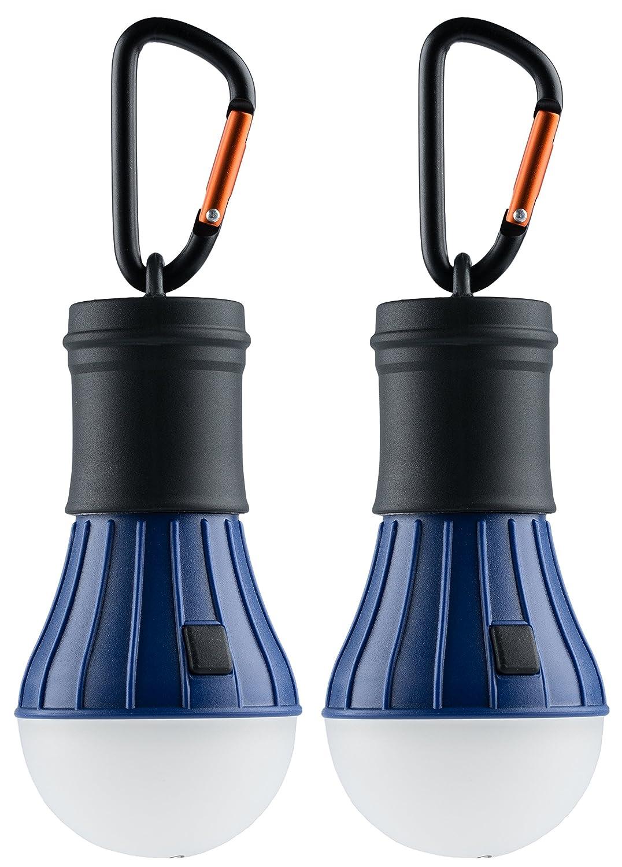 AceCamp Bombilla LED para camping, incluye Pilas y mosquetón, luz de emergencia, resistente al agua, 40 lúmenes, 4 modos, regulable, Doppelpack Blau: ...