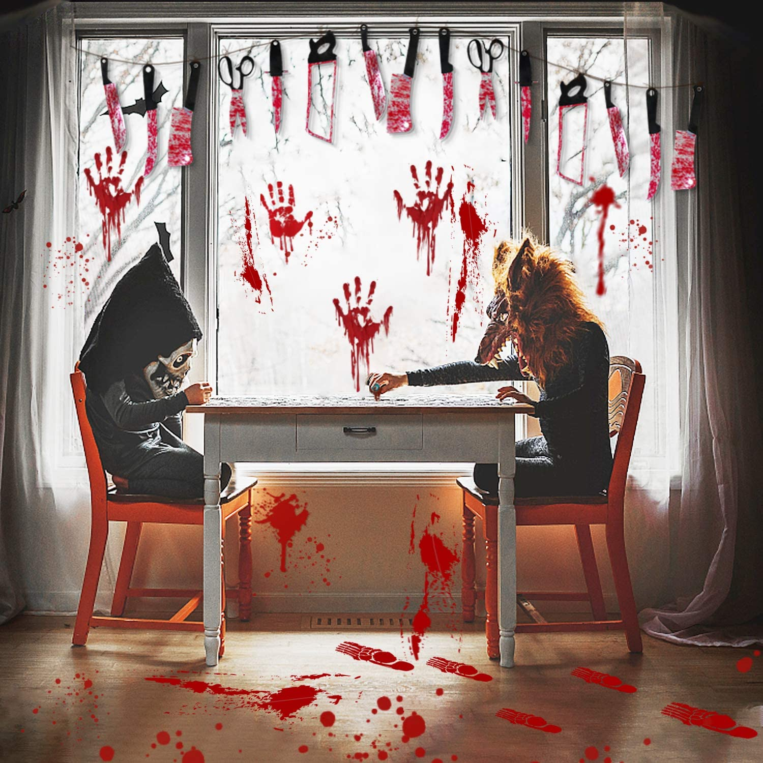 Bloody Garland Banner, Halloween Bloody Weapon Banner 2 Sets with Halloween Decorations Window Decals Wall Stickers Decor, 8 Sets Bloody Handprint Footprint Horror Bathroom Zombie Party Decorations