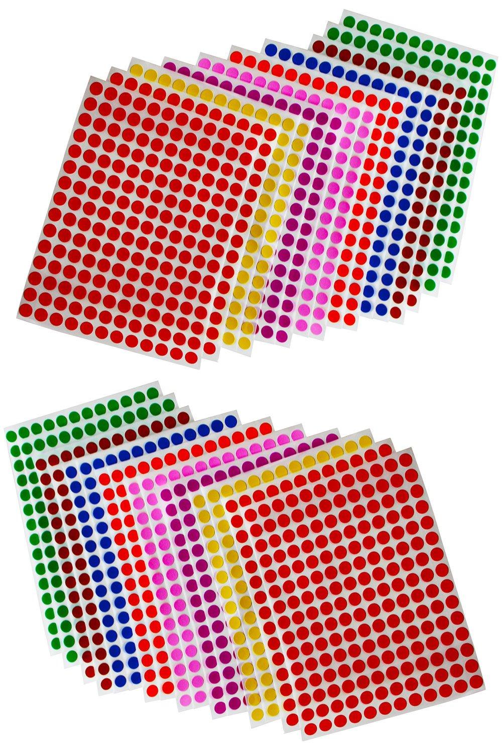 Royal Green Pegatinas en Forma de Puntos Color Verde 8mm Etiquetas de codificaci/ón por color 0.8cm Paquete de 2520