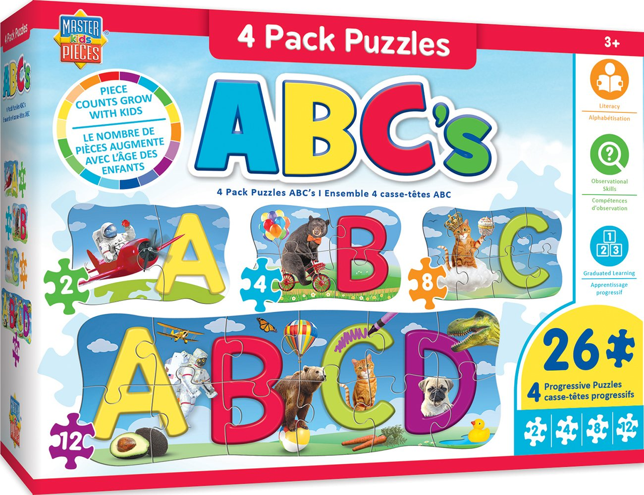 MasterPieces Educational ABCs 4-Pack Puzzles Master Pieces 11809