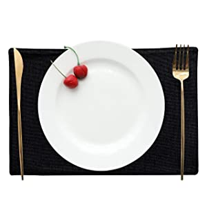 HOME BRILLIANT Placemats Set of 4 Heat Resistant Dining Table Place Mats Kitchen Table Mats, Black