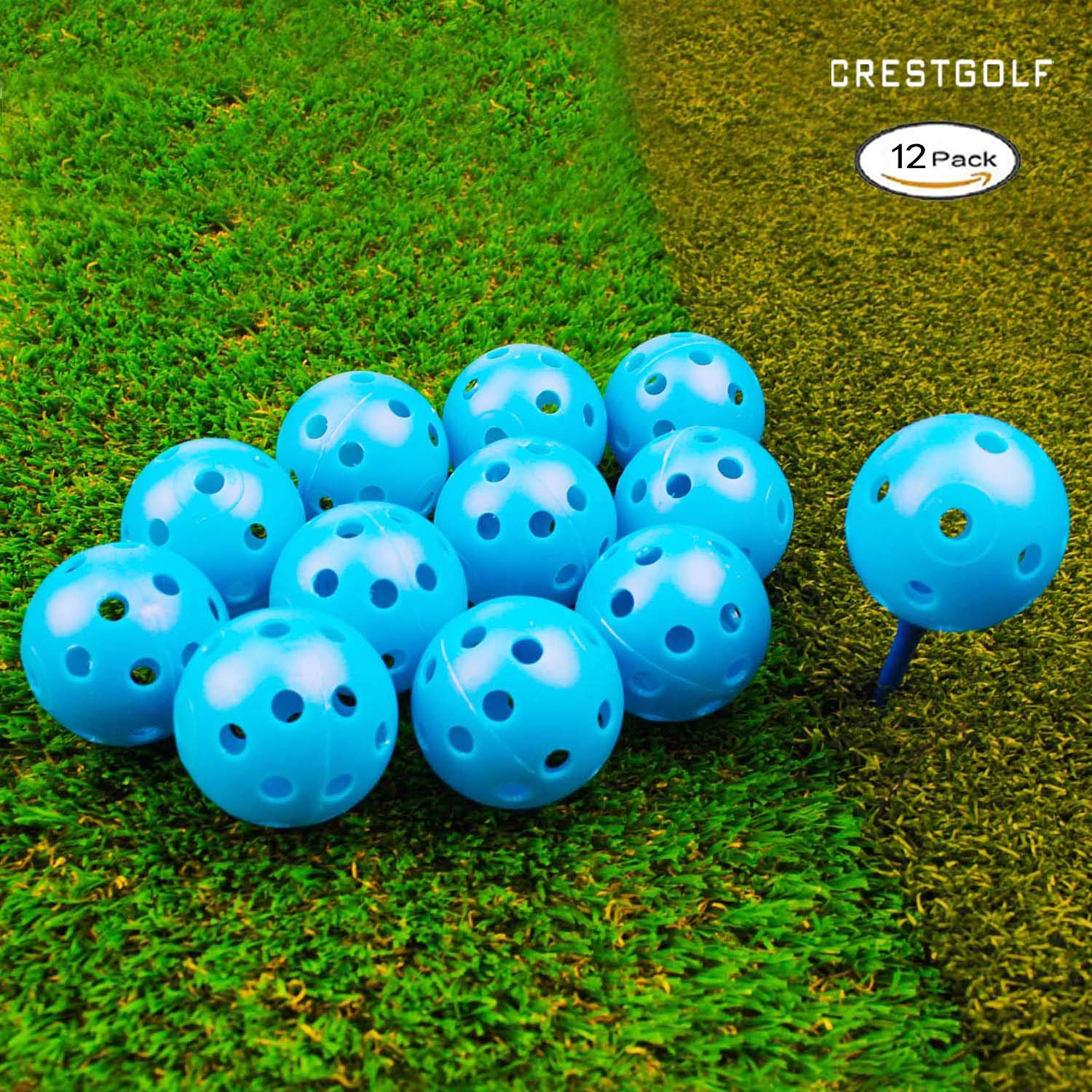 Crestgolf 40mm Plastic Airflow Golf Balls Pack of 12 (blue ) by Crestgolf