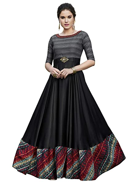 460c916eff427e Stylee Lifestyle Black Satin Printed Gown: Amazon.in: Clothing & Accessories
