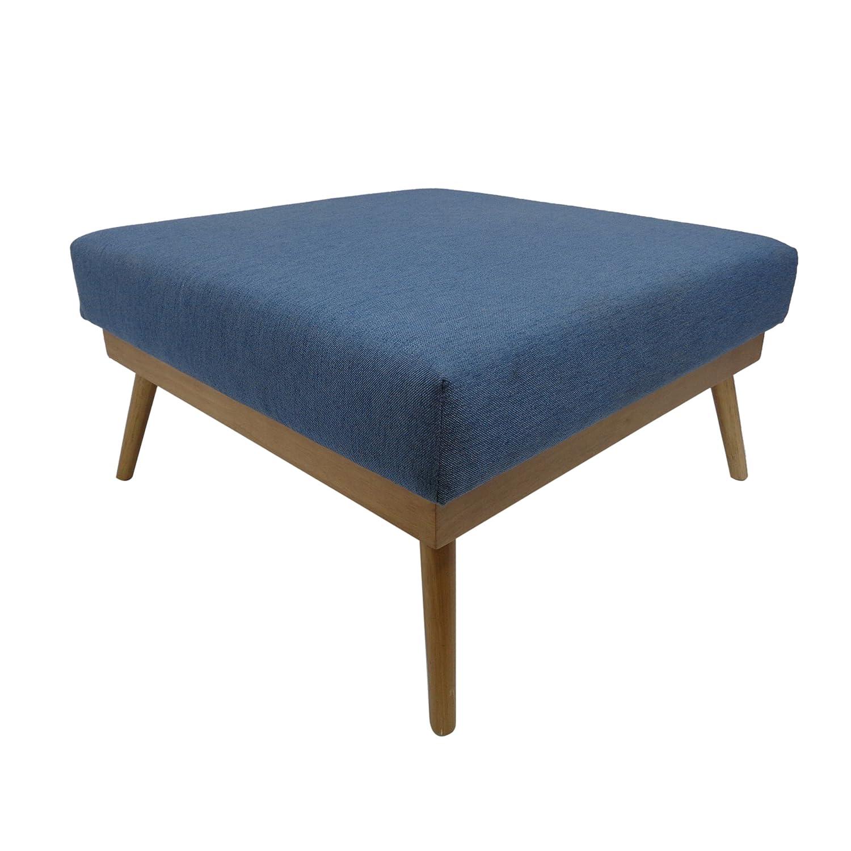 Amazon com aria mid century fabric ottoman blue kitchen dining