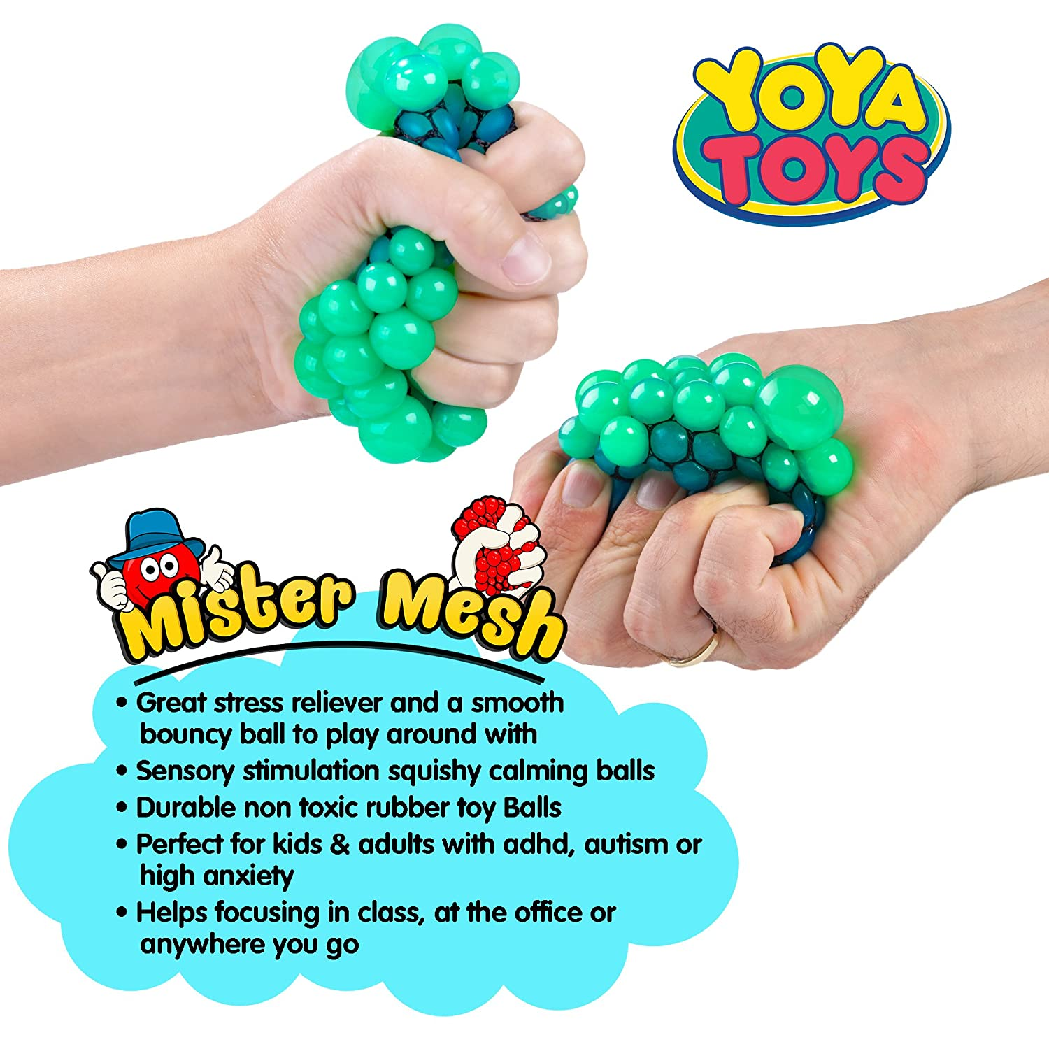 Amazon Squishy Mesh Stress Balls by YoYa Toys 3 Pack Non
