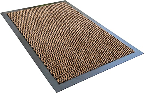 Ultralux Indoor Entrance Mat 47 x 71 Polypropylene Fibers and Anti-Slip Vinyl Backed Entry Rug Doormat Brown Home or Office Use Multiple Sizes