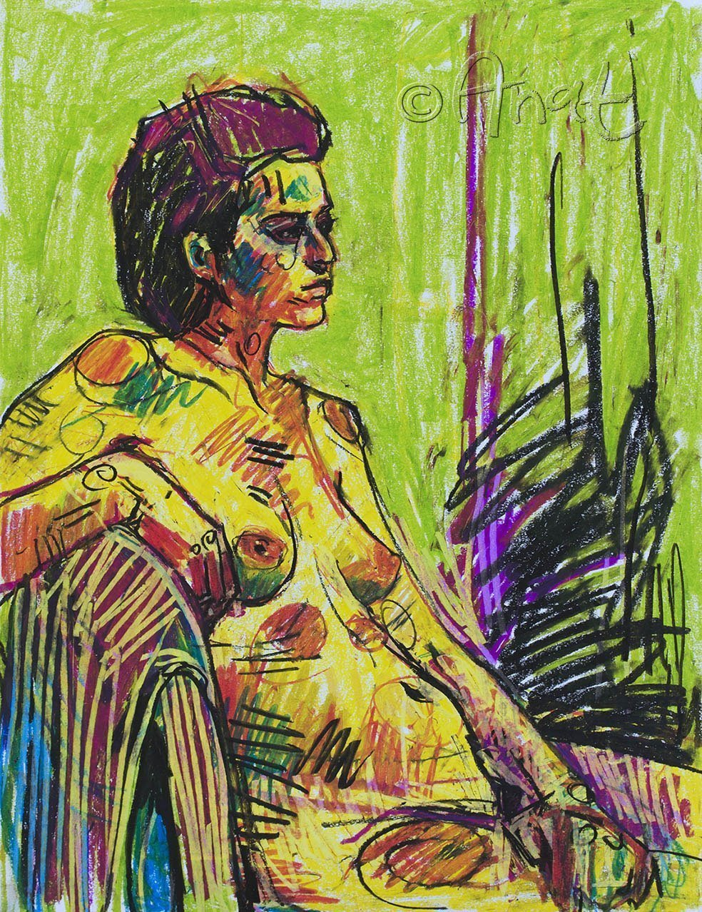 Amazon com: Nude drawing, oil pastel, nude figure painting, drawing