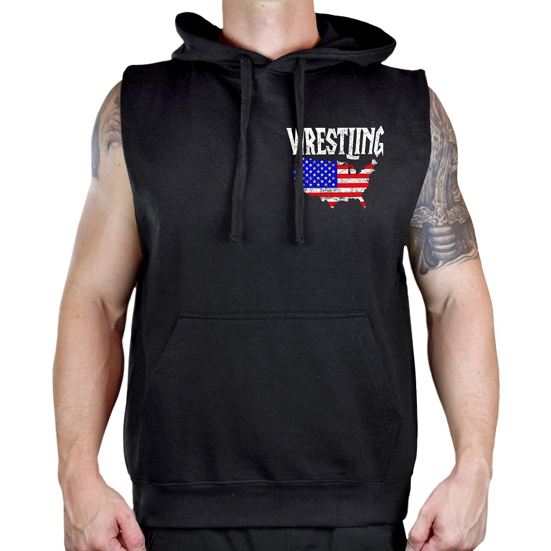 Interstate Apparel Mens Wrestling American Flag Map Sleeveless Vest Hoodie