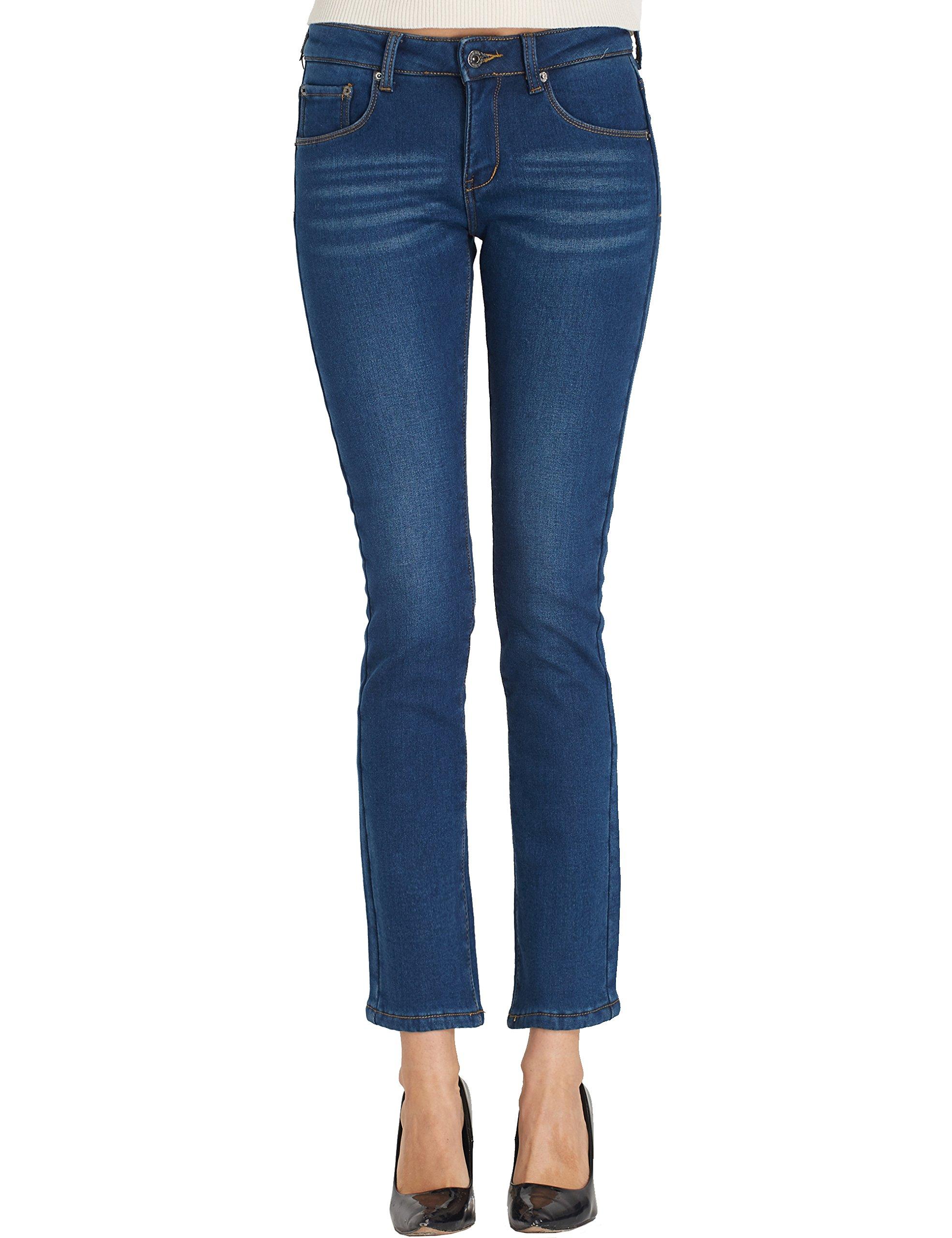 Camii Mia Women's Slim Fit Fleece Skinny Jeans (W32 x L30, Blue (831-2)) by Camii Mia