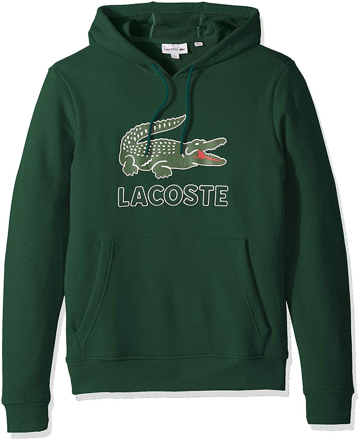 Lacoste Mens Long Sleeve Graphic Croc Brushed Fleece Jersey Hoodie