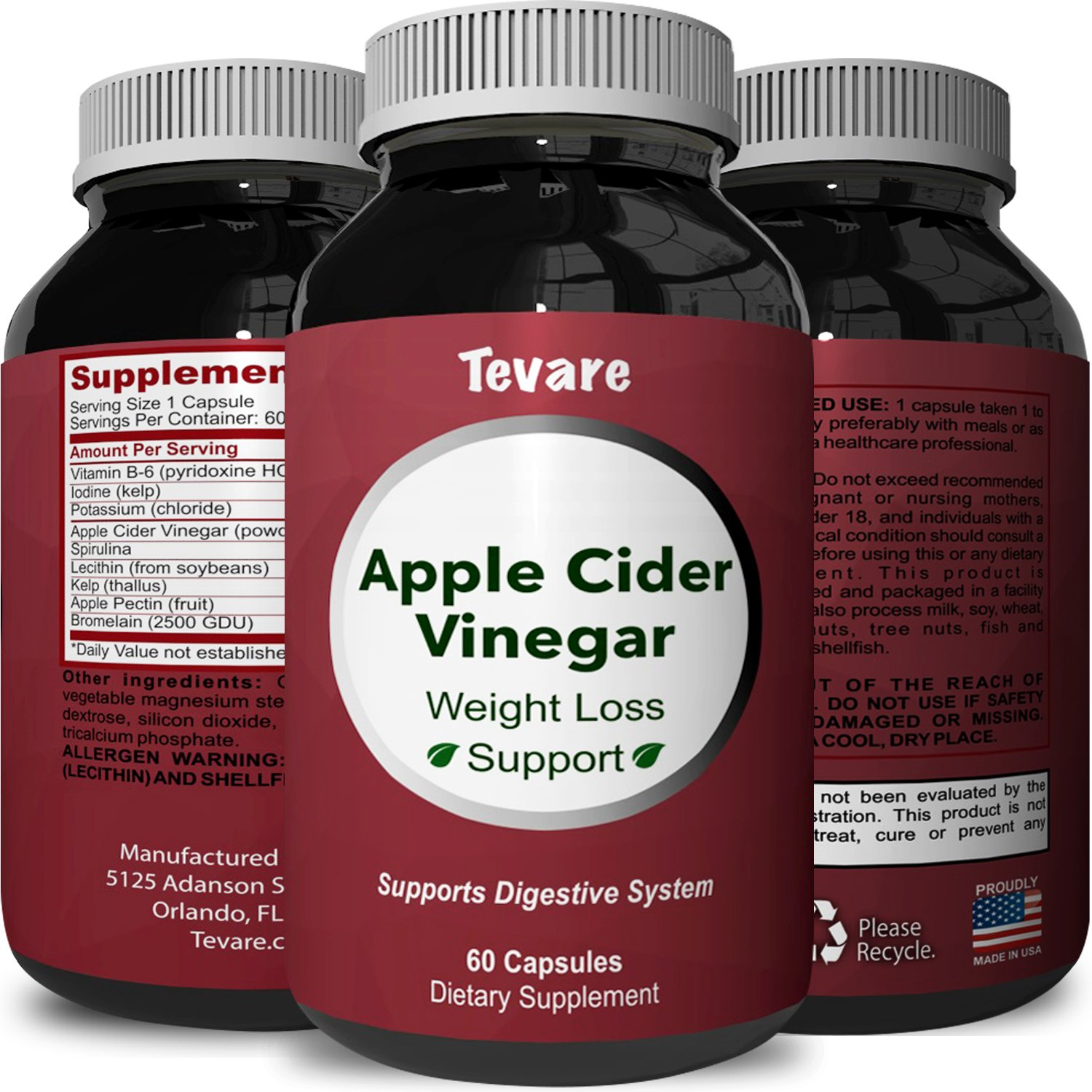 Best Apple Cider Vinegar Capsules - Pure Natural Weight Loss Supplement - Detox & Digestion Support - Boosts Metabolism + Reduces Appetite - Apple Cider Vinegar Pills for Men & Women - By Tevare