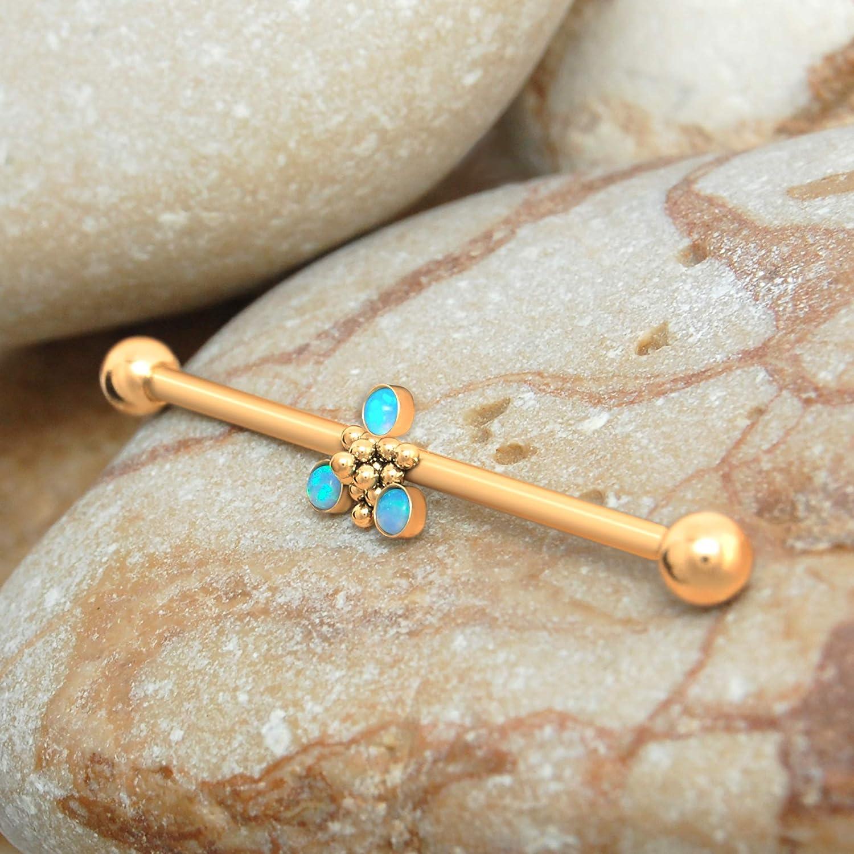 Industrial jewelry piercing,Opal Industrial Barbell, Industrial piercing earring Industrial barbell