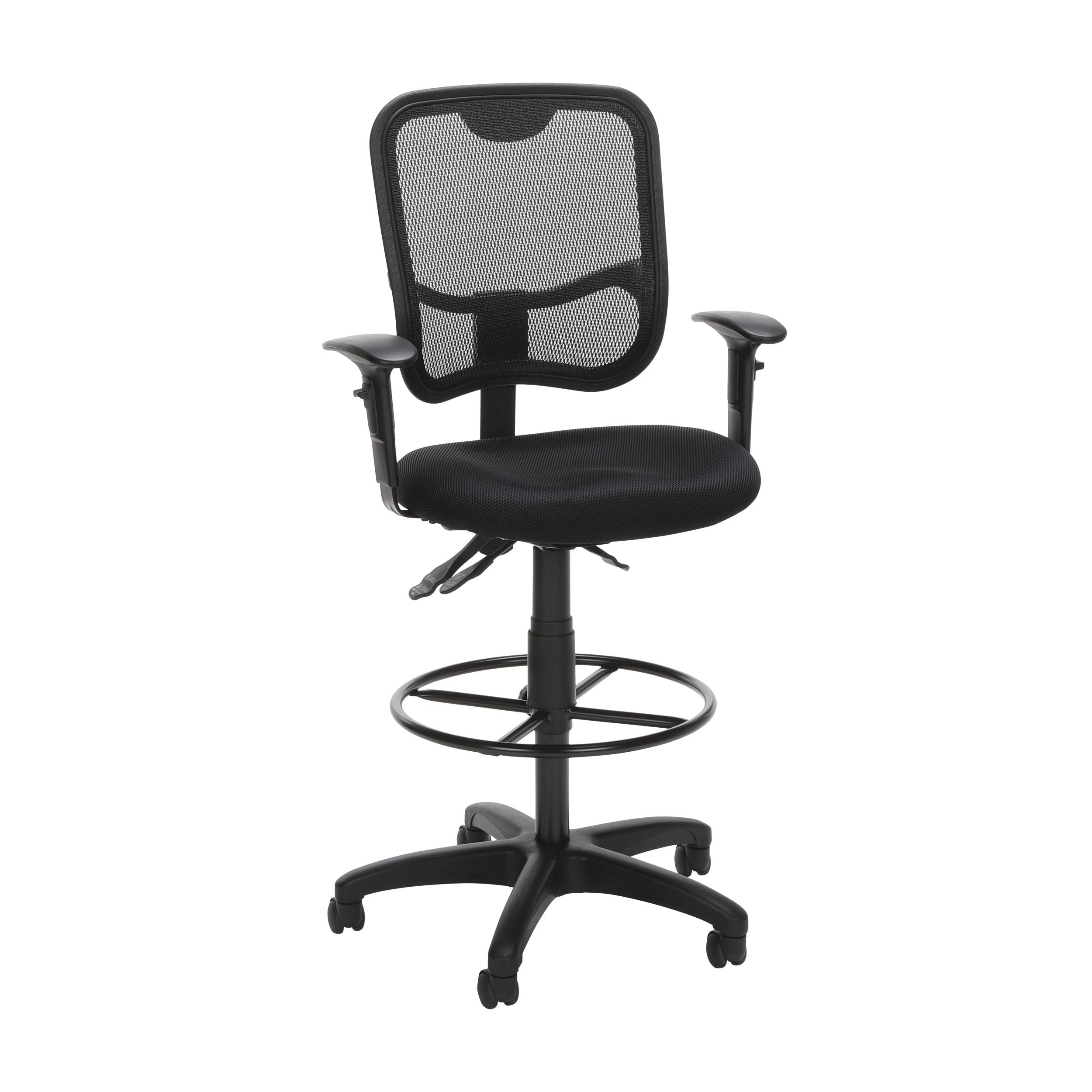 OFM Comfort Series Ergonomic Mesh Swivel Task Chair with Arms and Drafting Kit, Mid Back, in Black (130-AA3-DK-A05) by OFM