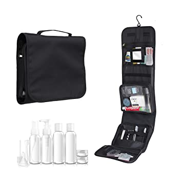 Hanging wash Bag with 100mL Travel Set and Mirror by Nomalite   Black  Folding Travel Toiletry 2599473e2ee