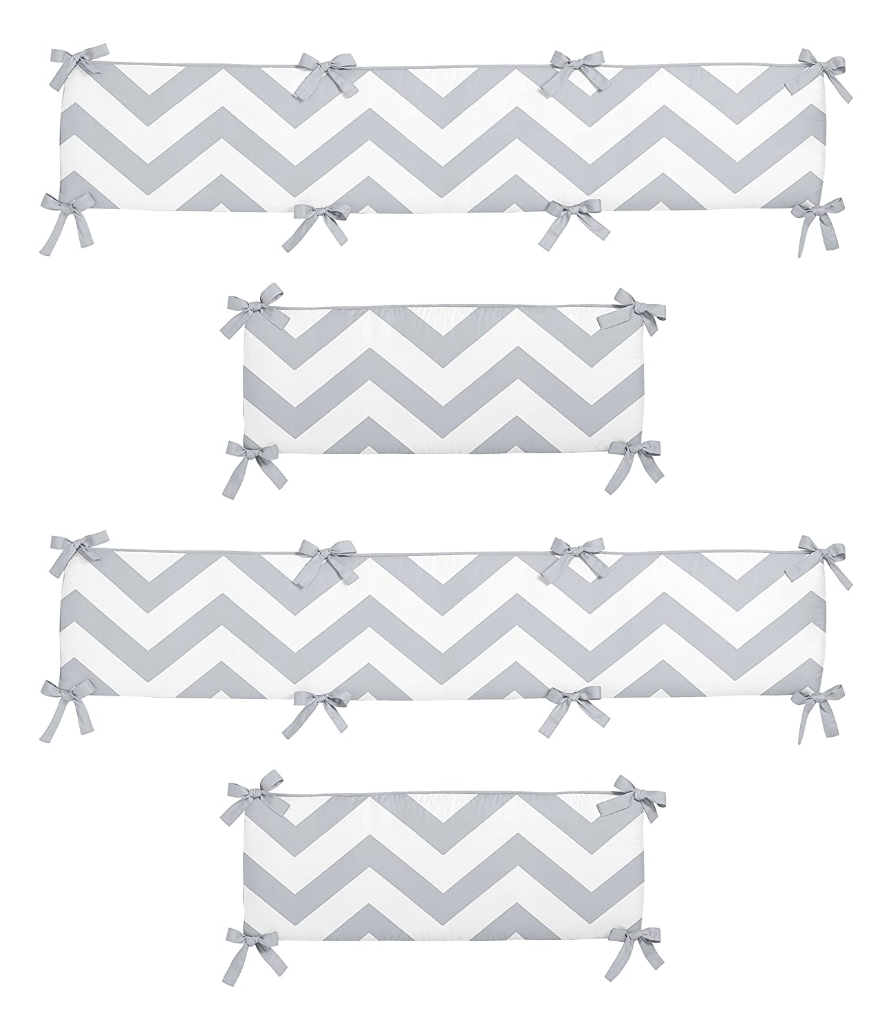 Bedding Gray And White Chevron Collection Crib Bumper By Sweet Jojo Designs Baby