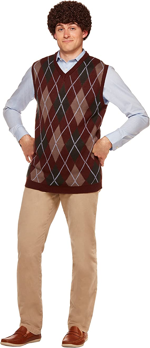 70s Costumes: Disco Costumes, Hippie Outfits Spirit Halloween Dale Sweater Vest and Wig Step Brothers Costume | Officially Licensed Burgundy $34.99 AT vintagedancer.com