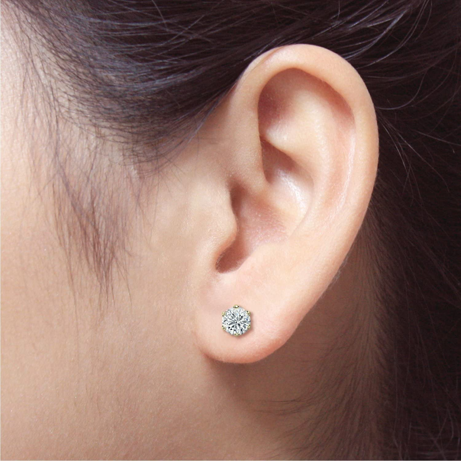 1//8-1cttw,Excellent Quality 14k Yellow Gold Round Diamond Simulant CZ SINGLE STUD Earring 6-Prong