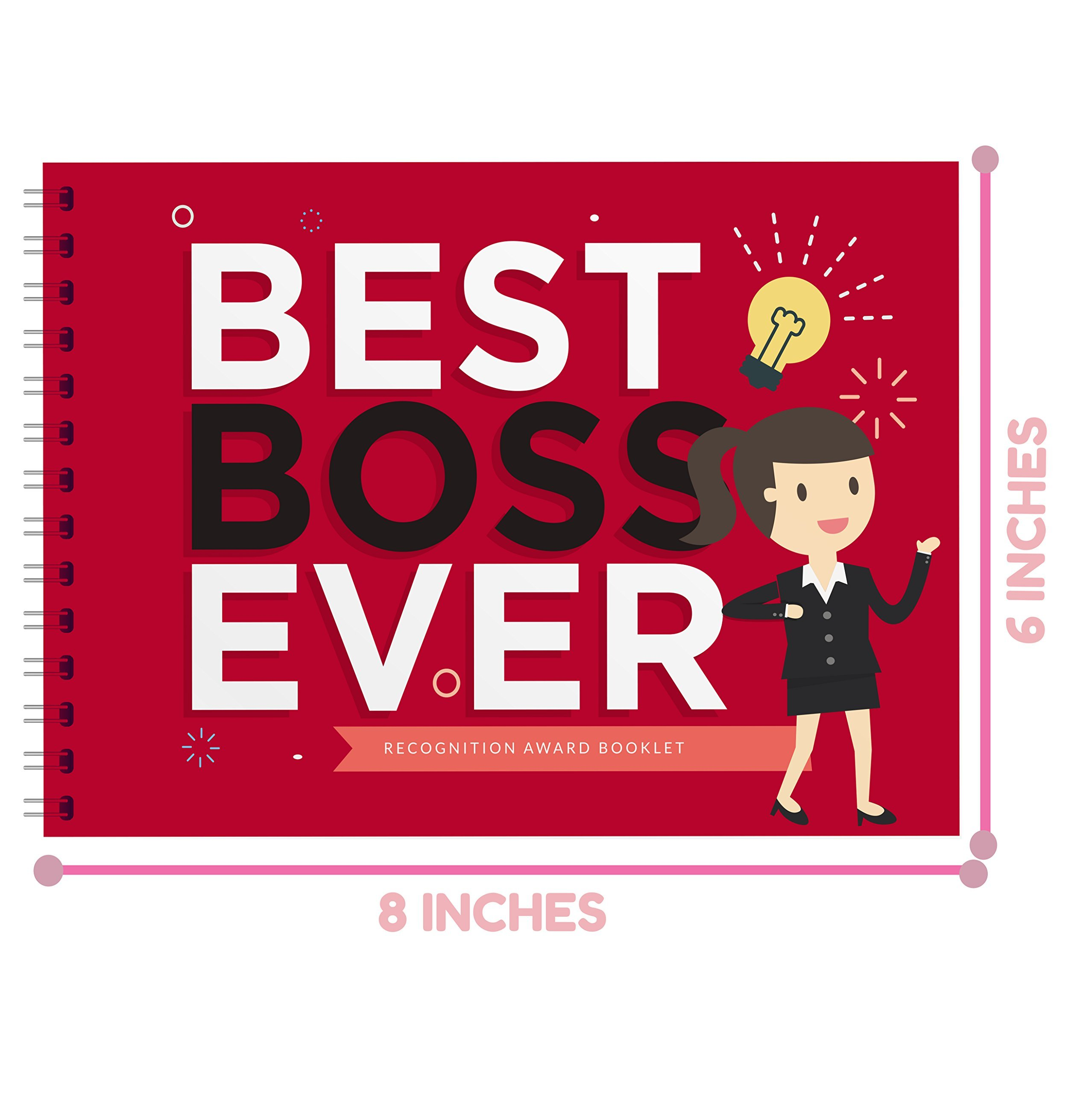 BEST BOSS EVER APPRECIATION GIFT - Recognition Award Booklet - Birthday Gift Idea For The Boss in the Office! Gifts For Worlds Best Female or Male Boss, Manager or Coworker by Little Big Drop (Image #2)