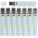 JiuQi USB Led Lamp Camping Night Light for Power Bank PC Laptop (Pack of 8) (White)