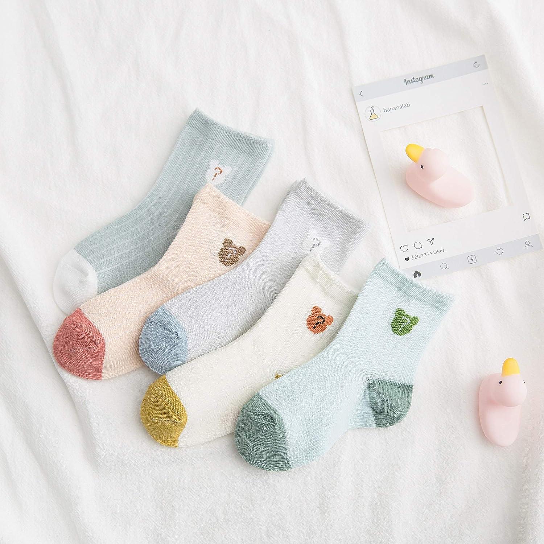 DEBAIJIA 5 Pairs Set Baby Coton Socks Soft Breathable Boys Girls Socks for Spring Summer Autum Multi-color Stripe Socks Set for Toddler Kids 0-5 Years Old