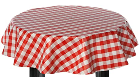 Round Vinyl Tablecloth 137cm Red Gingham Check Design