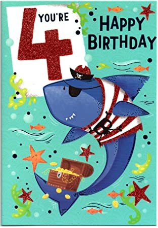 Birthday Card For Four 4 Year Old Boy Free 1st Class Post Uk