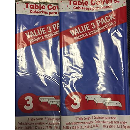 Celebrate Party Plastic Disposable Table Covers Tablecloths 6 Pack (Royal Blue)