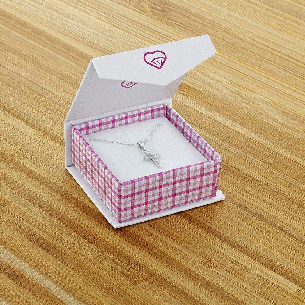 Pink Zircone Cubique 40 cm Croix Collier Pendentif In Season Jewelry Enfants Filles Argent 925//1000