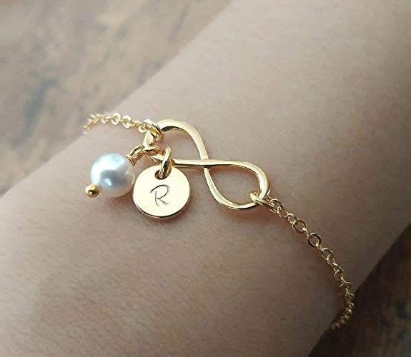 bc73e8c240a66 Amazon.com: Personalized Gold Silver Infinity Bracelet, Initial ...