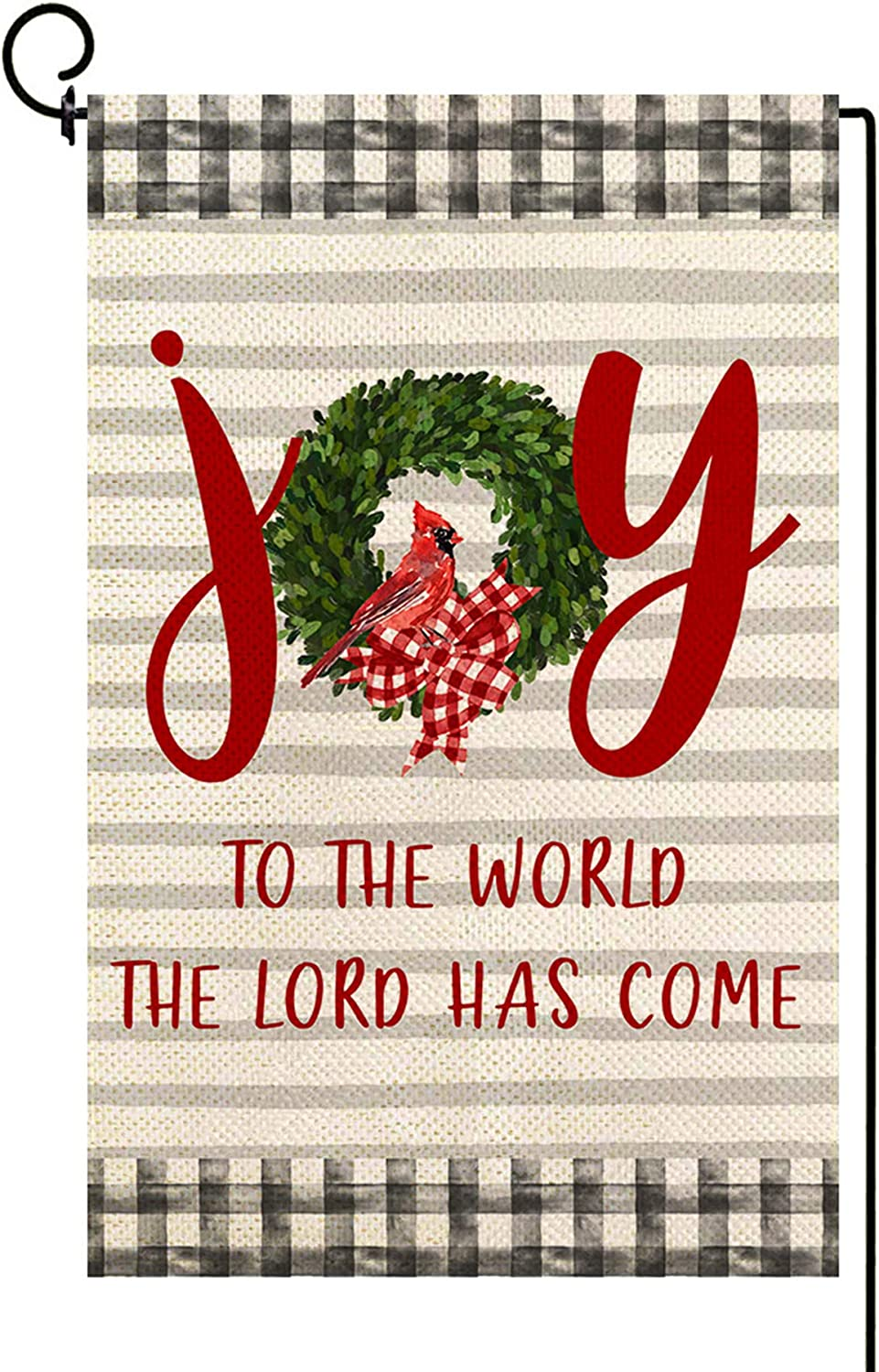 Baccessor Christmas Joy Garden Flag Cardinal Holy Yard Flag Double Sized Burlap Winter Holiday Religious Inspired Seasonal Farmhouse Outdoor Decoration 12.5 x 18 Inch