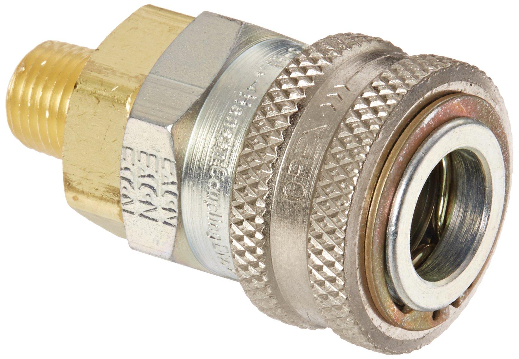 Eaton Hansen 3R15 Steel Ring Lock Quick Connect Pneumatic Fitting, Socket, 1/4''-18 NPTF Male, 1/4'' Port Size, 3/8'' Body